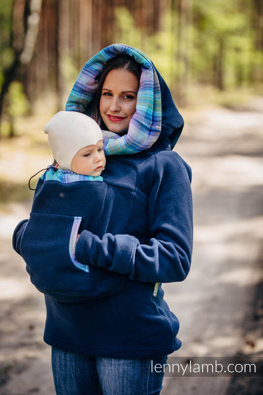 Fleece Babywearing Sweatshirt 2.0 - size L - navy blue with Little Herringbone Petrea (grade B) #babywearing