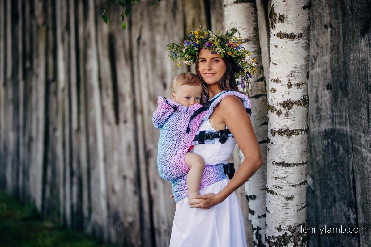 Ergonomic Carrier, Baby Size, jacquard weave 60% cotton, 40% bamboo - BIG LOVE - WILDFLOWERS, Second Generation #babywearing
