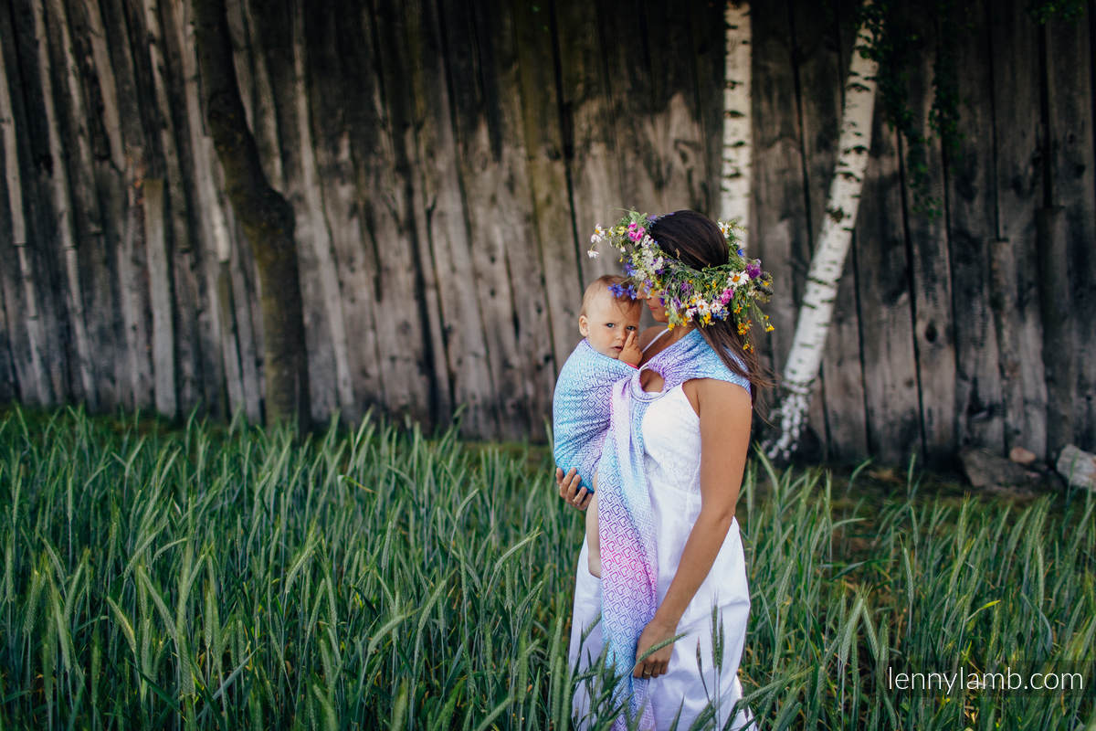 Ringsling, Jacquard Weave (60% cotton, 40% bamboo), with gathered shoulder - BIG LOVE - WILDFLOWERS - long 2.1m #babywearing