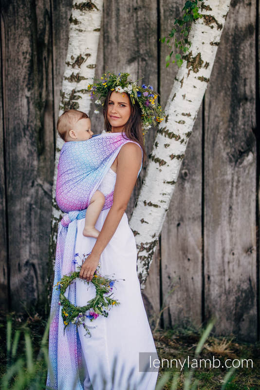 Baby Wrap, Jacquard Weave (60% cotton, 40% bamboo) - BIG LOVE - WILDFLOWERS - size XL #babywearing
