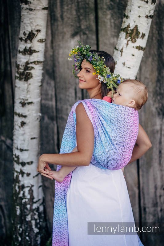 Baby Wrap, Jacquard Weave (60% cotton, 40% bamboo) - BIG LOVE - WILDFLOWERS - size XS (grade B) #babywearing