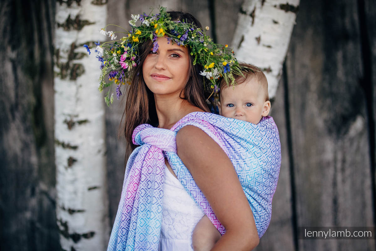 Baby Wrap, Jacquard Weave (60% cotton, 40% bamboo) - BIG LOVE - WILDFLOWERS - size L #babywearing