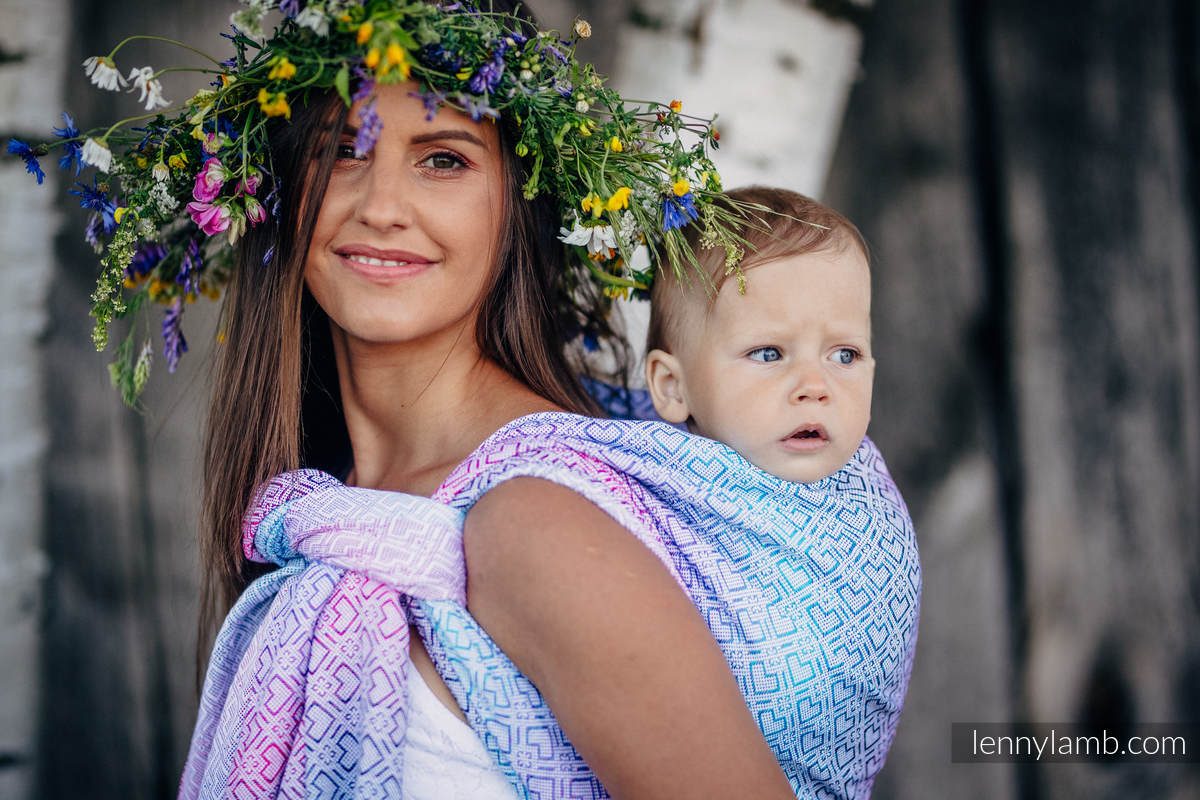 Baby Wrap, Jacquard Weave (60% cotton, 40% bamboo) - BIG LOVE - WILDFLOWERS - size XS #babywearing