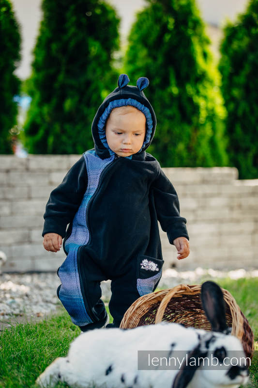 Bear Romper - size 92 - black with Little Herringbone Illusion (grade B) #babywearing