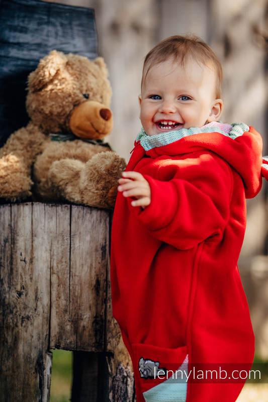 Pajacyk misiowy - rozmiar 68 - czerwony z Małą Jodełką Impresją #babywearing