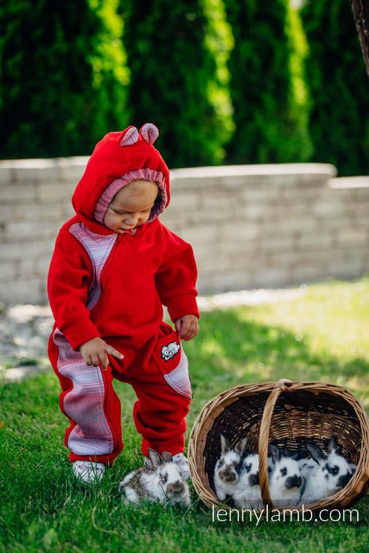 Pajacyk misiowy - rozmiar 80 - czerwony z Małą Jodełką Elegancją #babywearing