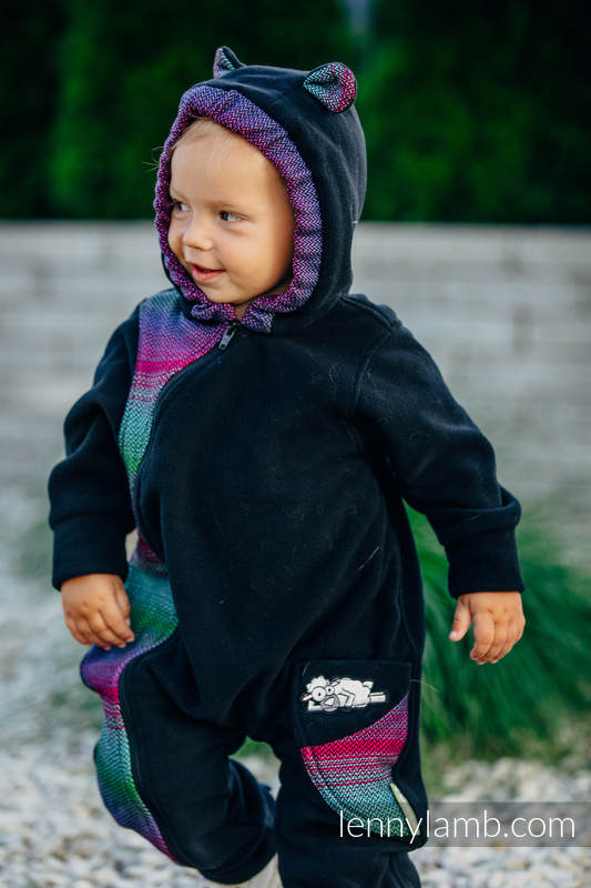 Bear Romper - size 74 - black with Little Herringbone Impression Dark #babywearing
