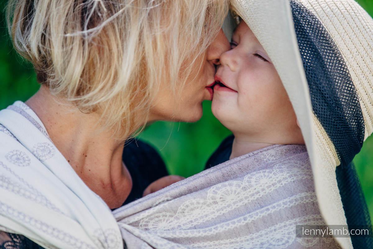 Żakardowa chusta do noszenia dzieci, 60% Bawełna 28% Len 12% Jedwab Tussah - KORONKA SMOKY PINK - rozmiar L #babywearing