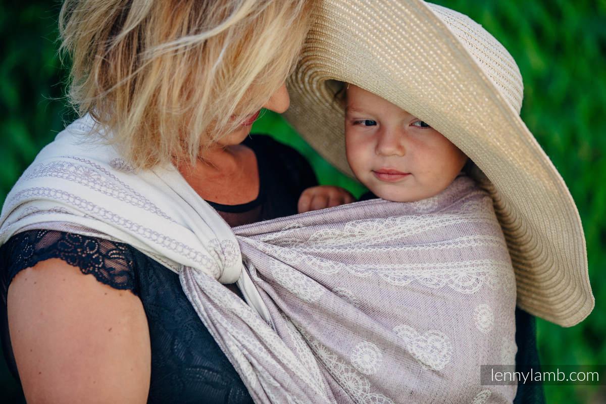 Baby Wrap, Jacquard Weave (60% cotton 28% linen 12% tussah silk) - SMOKY PINK LACE - size XL #babywearing