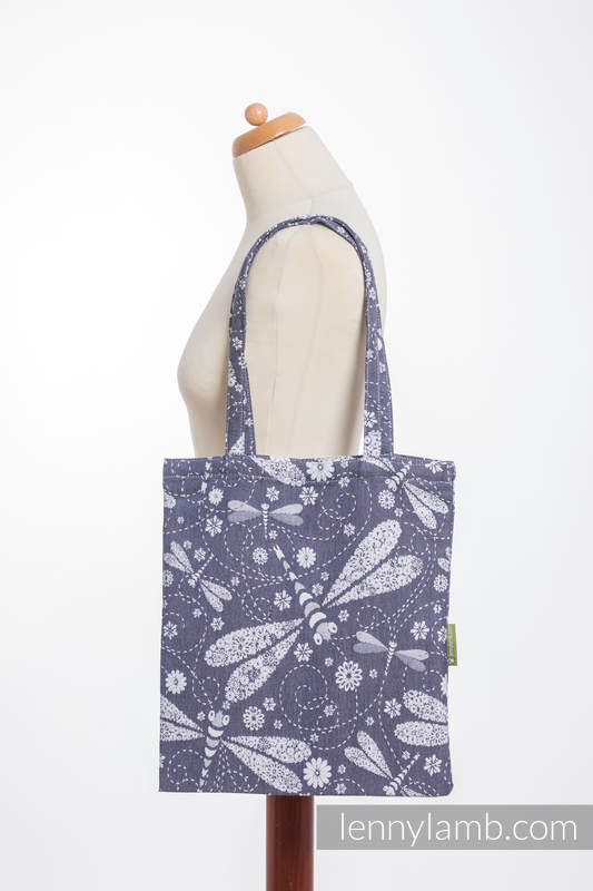 Shopping bag made of wrap fabric (60% cotton, 40% bamboo) - DRAGONFLY WHITE & NAVY BLUE #babywearing