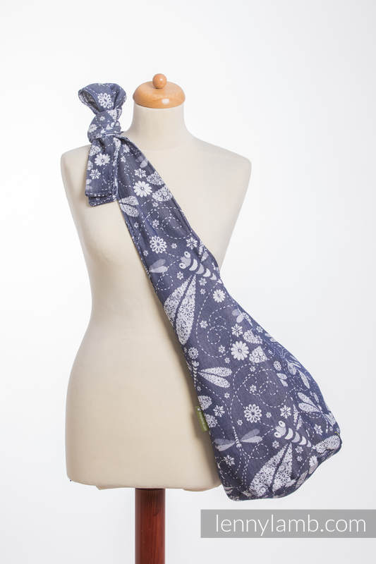 Hobo Bag made of woven fabric, 60% cotton, 40% bamboo - DRAGONFLY WHITE & NAVY BLUE #babywearing
