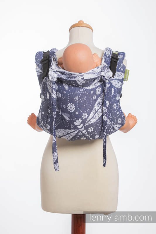 Lenny Buckle Onbuhimo, standard size, jacquard weave (60% cotton, 40% bamboo) - Wrap conversion from DRAGONFLY WHITE & NAVY BLUE #babywearing