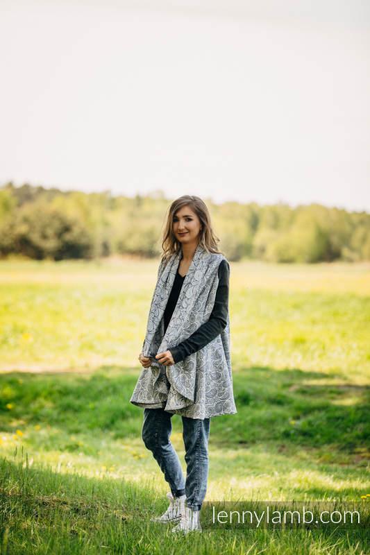 Długi kardigan - Plus Size - Paisley Granat z Kremem #babywearing