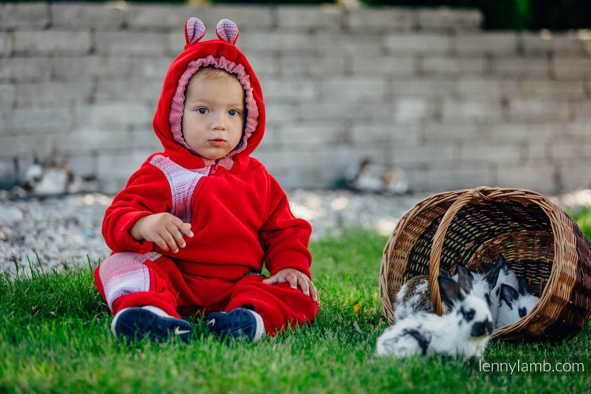 Pajacyk misiowy - rozmiar 74 - czerwony z Małą Jodełką Elegancją #babywearing