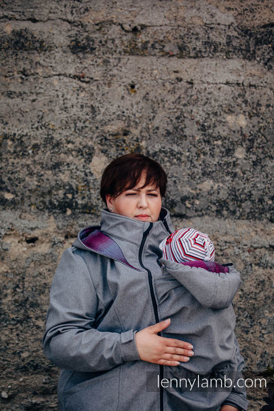 Babywearing Coat - Softshell - Gray Melange with Little Herringbone Inspiration - size 5XL #babywearing