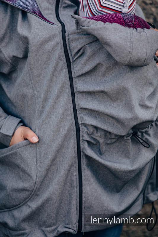 Babywearing Coat - Softshell - Gray Melange with Little Herringbone Inspiration - size 3XL #babywearing