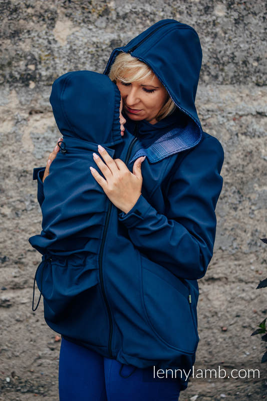 Babywearing Coat - Softshell - Navy Blue with Little Herringbone Illusion - size M #babywearing