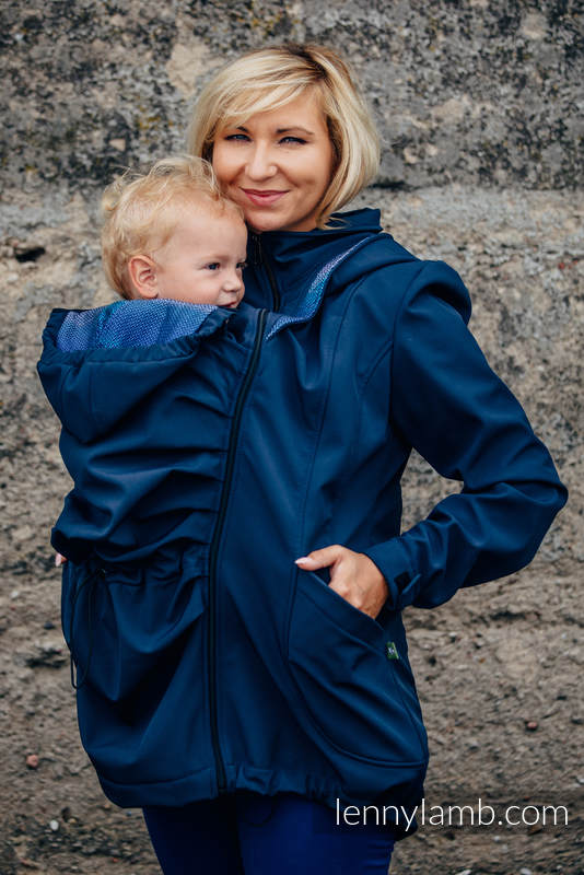 Babywearing Coat - Softshell - Navy Blue with Little Herringbone Illusion - size XS #babywearing