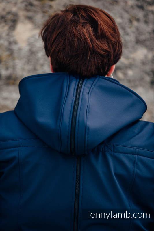 Babywearing Coat - Softshell - Navy Blue with Little Herringbone Illusion - size 3XL #babywearing