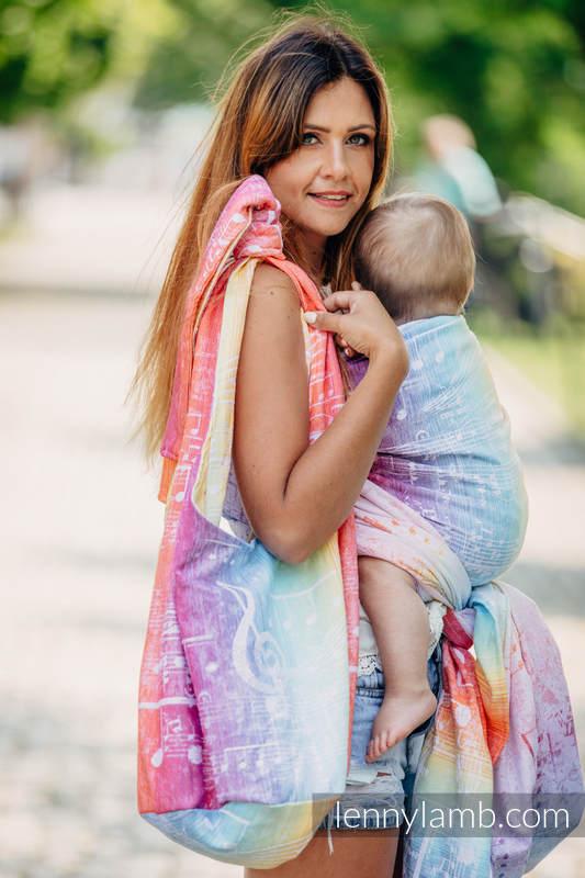 Torba Hobo z materiału chustowego, (100% bawełna) - SYMFONIA TĘCZOWA LIGHT  #babywearing