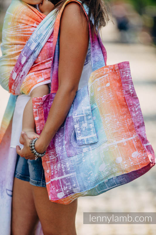 Shoulder bag made of wrap fabric (100% cotton) - SYMPHONY RAINBOW LIGHT - standard size 37cmx37cm #babywearing