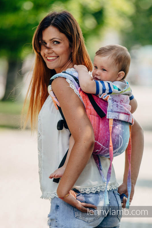 Lenny Buckle Onbuhimo baby carrier, toddler size, jacquard weave (100% cotton) - SYMPHONY RAINBOW LIGHT  #babywearing