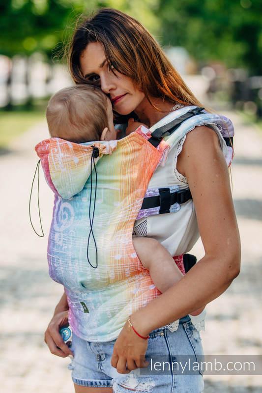 Nosidełko Ergonomiczne z tkaniny żakardowej 100% bawełna , Toddler Size, SYMFONIA TĘCZOWA LIGHT - Druga Generacja (drugi gatunek) #babywearing