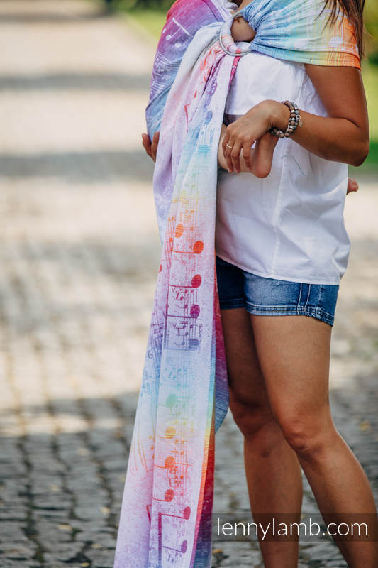 Ringsling, Jacquard Weave (100% cotton), with gathered shoulder - SYMPHONY RAINBOW LIGHT - standard 1.8m #babywearing
