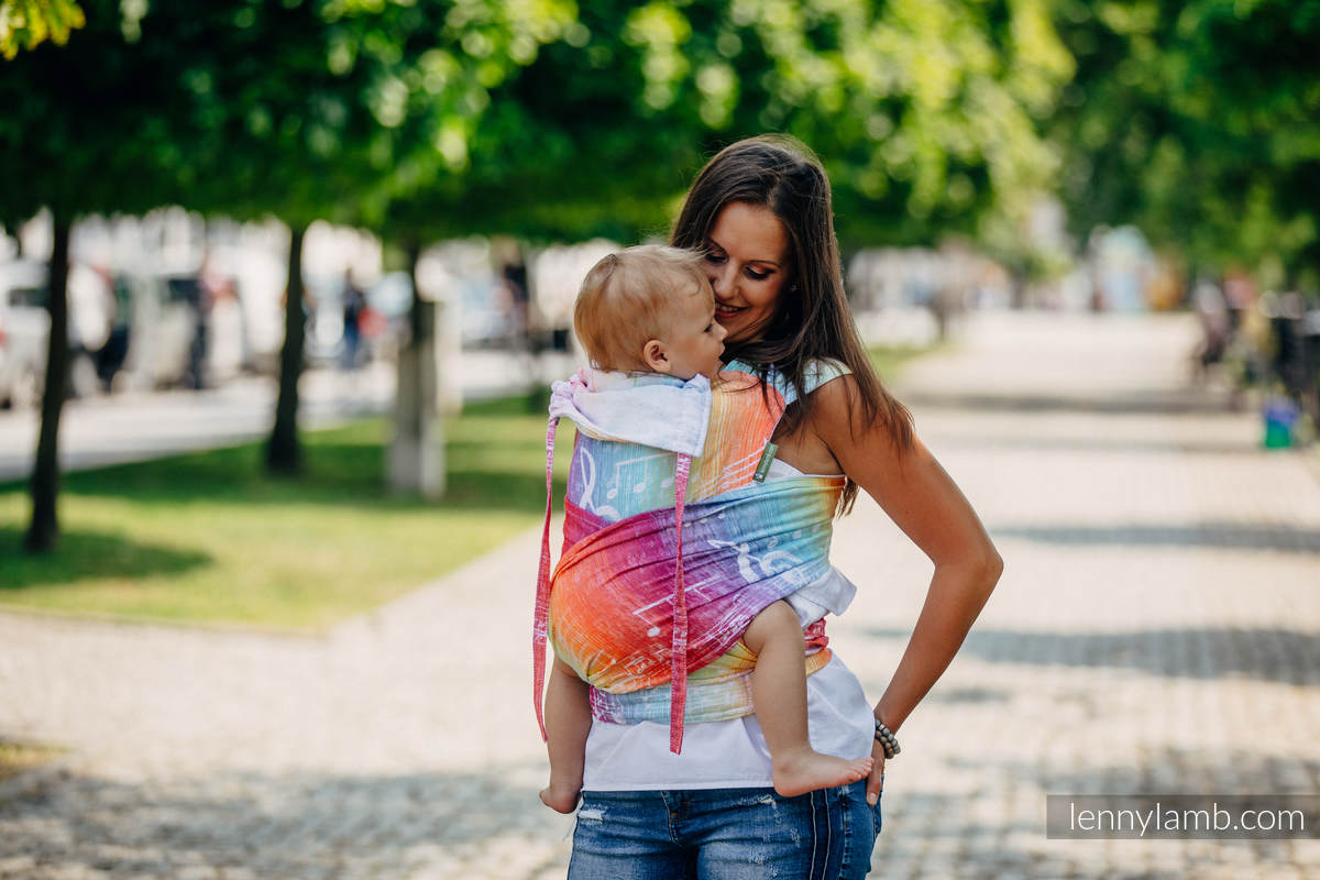 WRAP-TAI portabebé Mini con capucha/ jacquard sarga/100% algodón/ SYMPHONY RAINBOW LIGHT  #babywearing