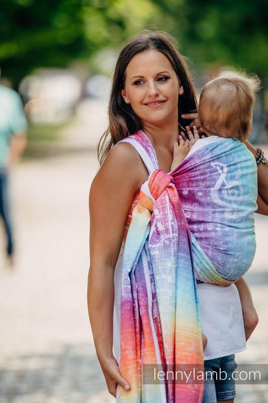 Tragetuch, Jacquardwebung (100% Baumwolle) - SYMPHONY RAINBOW LIGHT - Größe S #babywearing
