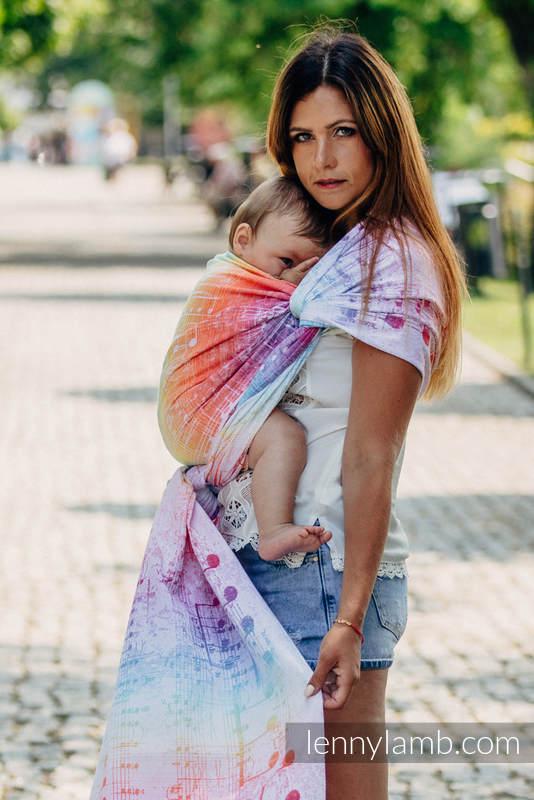 Baby Wrap, Jacquard Weave (100% cotton) - SYMPHONY RAINBOW LIGHT - size XL #babywearing