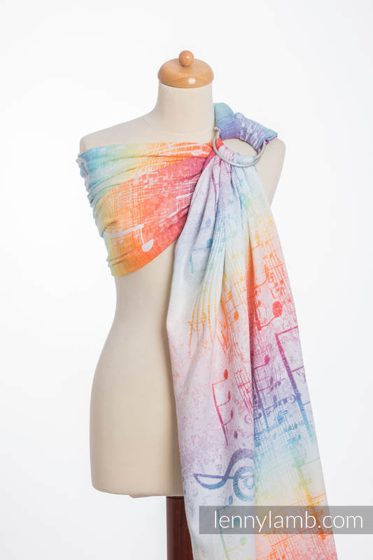 Ringsling, Jacquard Weave (100% cotton) - SYMPHONY RAINBOW LIGHT - long 2.1m (grade B) #babywearing