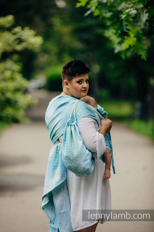 Sackpack made of wrap fabric (100% cotton) - BIG LOVE - ICE MINT - standard size 32cmx43cm #babywearing