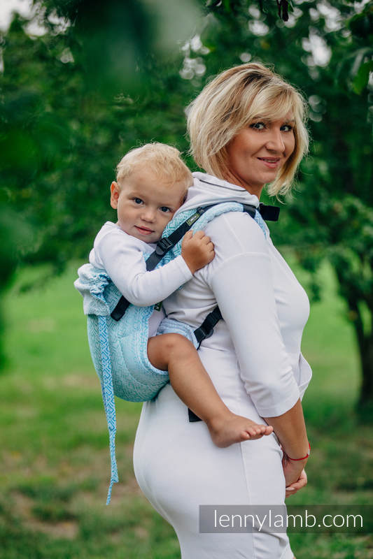 Lenny Buckle Onbuhimo, toddler size, jacquard weave (100% cotton) - Wrap conversion from BIG LOVE - ICE MINT (grade B) #babywearing