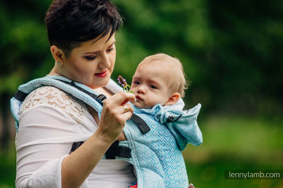 Ergonomic Carrier, Baby Size, jacquard weave 100% cotton - BIG LOVE - ICE MINT - Second Generation #babywearing