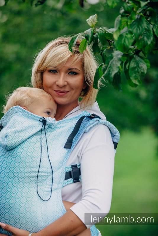 Nosidełko Ergonomiczne z tkaniny żakardowej 100% bawełna , Toddler Size, BIG LOVE - MROŻONA MIĘTA - Druga Generacja #babywearing