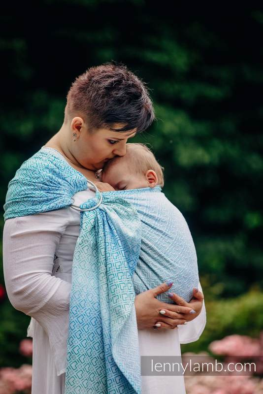 Ringsling, Jacquard Weave (100% cotton) - BIG LOVE - ICE MINT  #babywearing