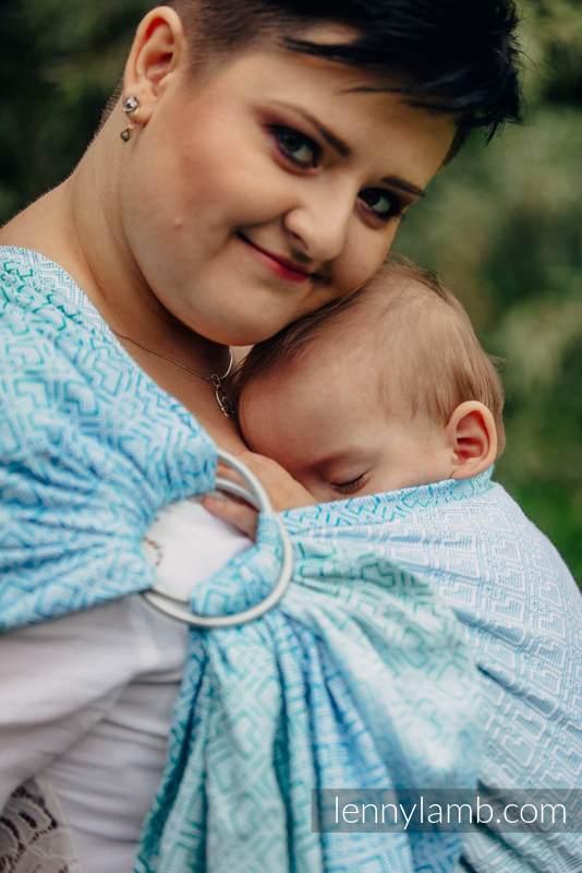 Żakardowa chusta kółkowa do noszenia dzieci, bawełna, ramię bez zakładek - BIG LOVE - MROŻONA MIĘTA  - long 2.1m #babywearing