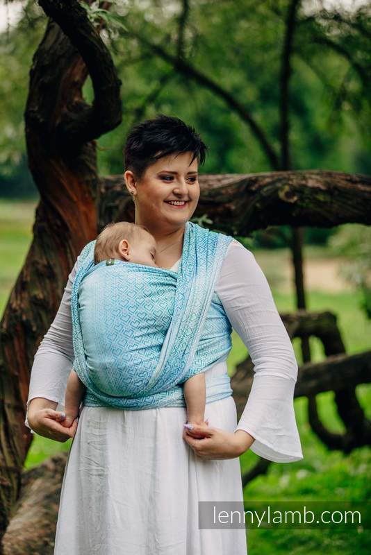 Baby Wrap, Jacquard Weave (100% cotton) - BIG LOVE - ICE MINT - size S (grade B) #babywearing