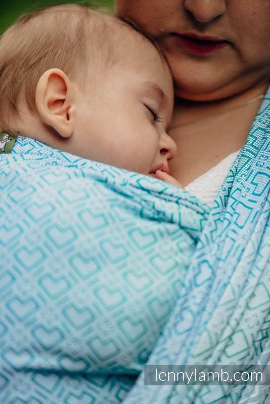 Żakardowa chusta do noszenia dzieci, bawełna - BIG LOVE - MROŻONA MIĘTA - rozmiar XS #babywearing