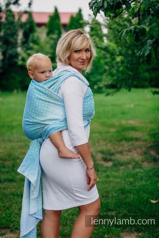 Baby Wrap, Jacquard Weave (100% cotton) - BIG LOVE - ICE MINT - size L #babywearing