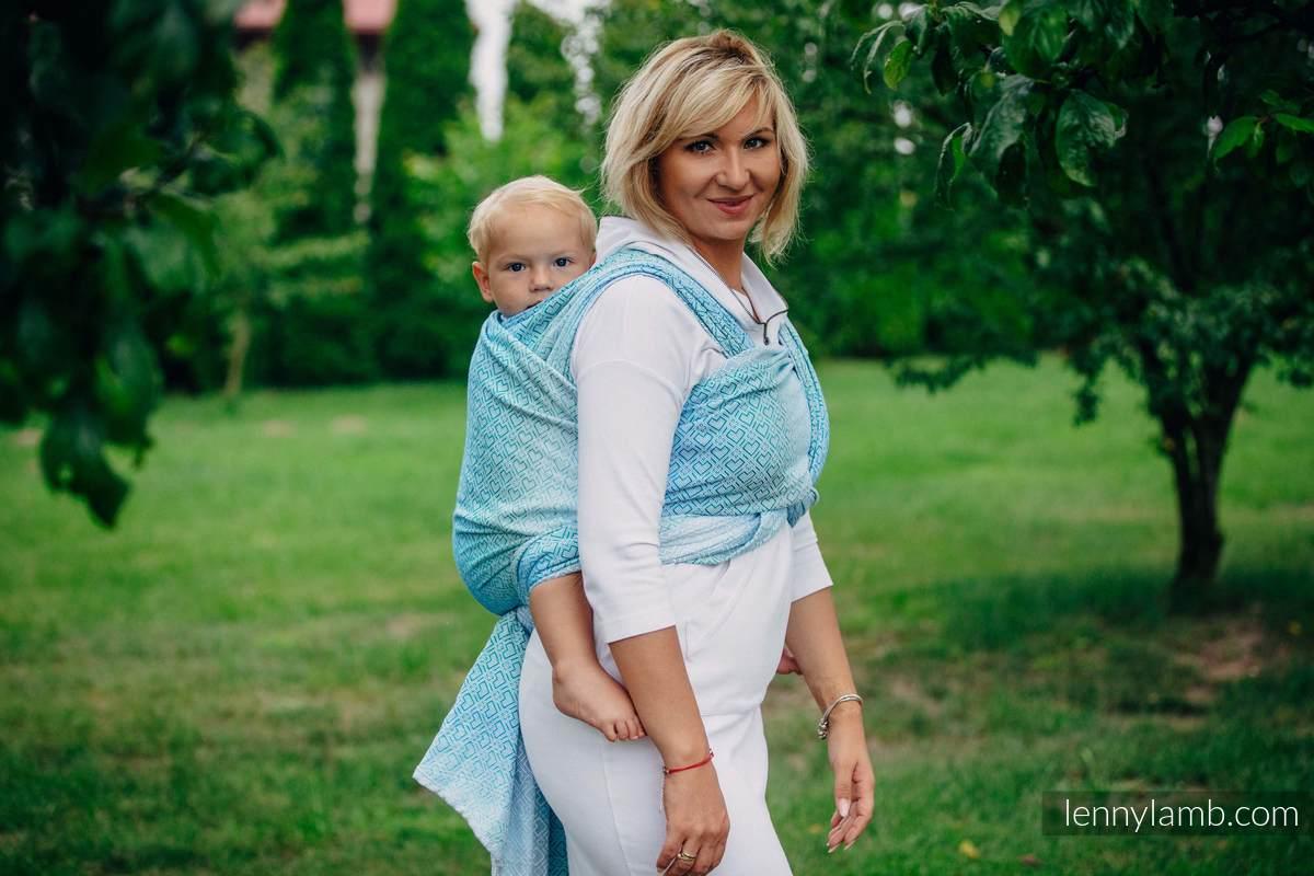 Fular, tejido jacquard (100% algodón) - BIG LOVE ICE MINT - talla XS #babywearing