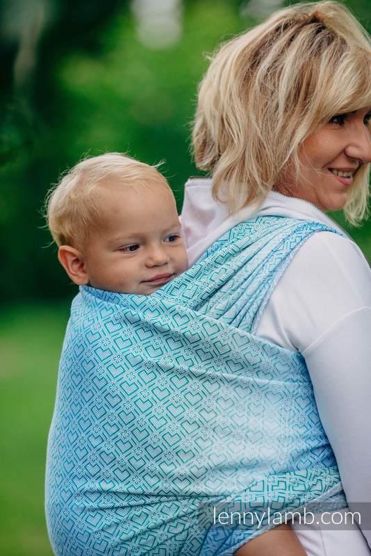 Fular, tejido jacquard (100% algodón) - BIG LOVE ICE MINT - talla XL #babywearing