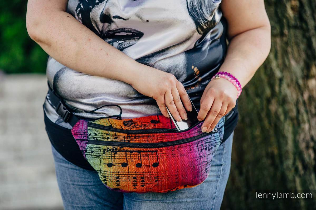 Waist Bag made of woven fabric, size large (100% cotton) - SYMPHONY RAINBOW DARK #babywearing
