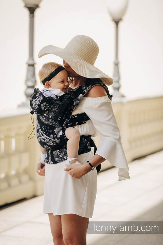Ergonomische Tragehilfe, Größe Baby, Jacquardwebung, 100% Baumwolle - CITY OF LOVE AT NIGHT - Zweite Generation #babywearing