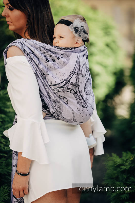 Baby Wrap, Jacquard Weave (100% cotton) - CITY OF LOVE AT NIGHT - size XS #babywearing