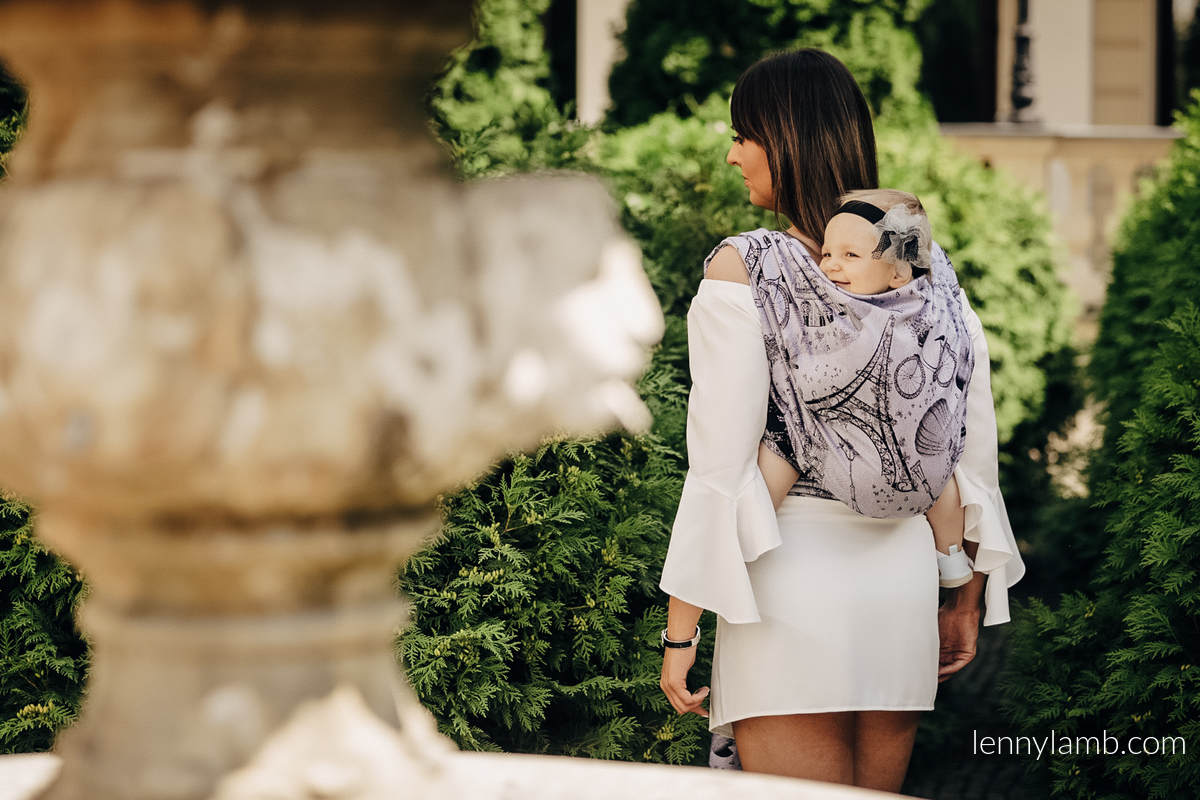 Tragetuch, Jacquardwebung (100% Baumwolle) - CITY OF LOVE AT NIGHT - Größe M (grad B) #babywearing