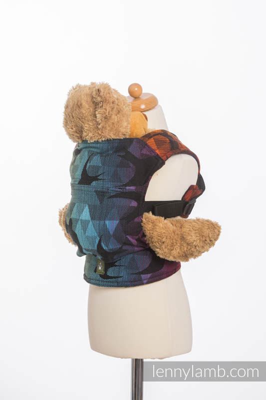 Doll Carrier made of woven fabric, 100% cotton - SWALLOWS RAINBOW DARK #babywearing