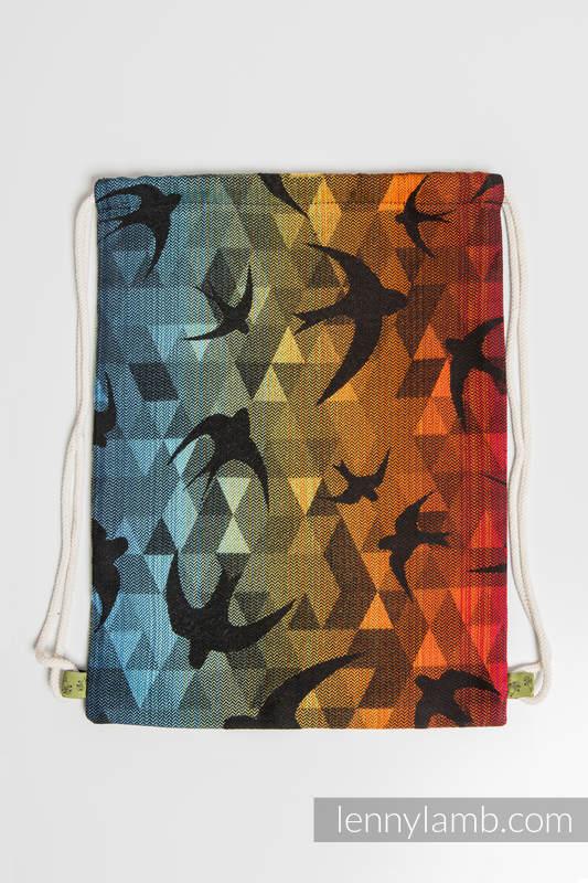 Mochila portaobjetos hecha de tejido de fular (100% algodón) - SWALLOWS RAINBOW DARK - talla estándar 32cmx43cm #babywearing