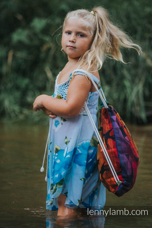 Sackpack made of wrap fabric (100% cotton) - SWALLOWS RAINBOW DARK - standard size 32cmx43cm #babywearing